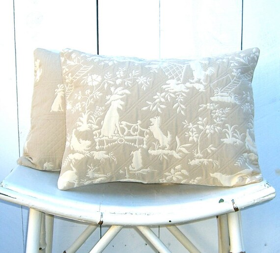 Dog Decorative Pillow Covers  Pair : Neutrals Beige and White