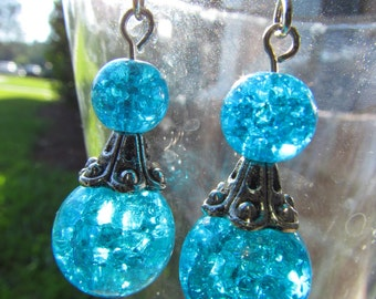 Aqua/Pink/Smoke Glass Sphere Earrings