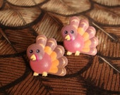 Gobble Gobble Cute Pilgrim Thanksgiving Turkey Earrings