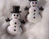 Glittery Snowman Post Earrings TOO Cute