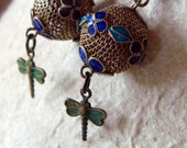 Dragonfly Beaded Earrings with Vintage Enamel and Mesh Balls