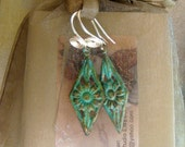 Brass Verdigris Sunflower Earrings with Hand Crafted Spiral Ear Wires