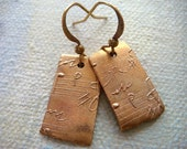 Music Motif Earrings from Bronze Metal Clay. Dangle Earrings.