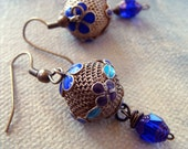 Dangle Earrings-Vintage Mesh and Enamel Balls with Cobalt Blue Czech Cathedral Beads