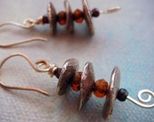 Handmade Solid Bronze Metal Clay Stacks with Rough Cut Czech Beads.