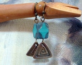 Beaded Earrings - Dangle Earrings - Bronze Metal Clay Triangles with Turquoise Color Window Cut Czech Beads