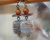 Beaded Dangle Earrings - Square Sea Foam Green Opaque Czech Beads and Rough Cut Rust Beads