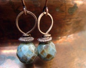 Handmade Beaded Earring with Sage Picasso Solitary Dangle and Hand-wrapped Copper Wire