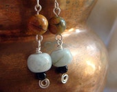 Sterling Silver and Gemstone Dangle Earrings. Polished Aquamarine and Red Creek Jasper Beads.