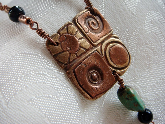 Four Seasons Handmade Bronze and Copper Metal Clay Pendant with Copper, Turquoise and Black Onyx Accent Beads