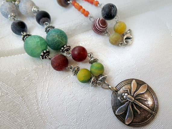 Fine Silver Dragonfly Pendant - Silver Metal Clay Pendant on Beaded Fire Agate and Sterling Silver Necklace - 18 inches