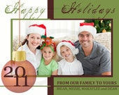 HAPPY HOLIDAYS Personalized Christmas Photo Card 5 1/2 x  4 1/4