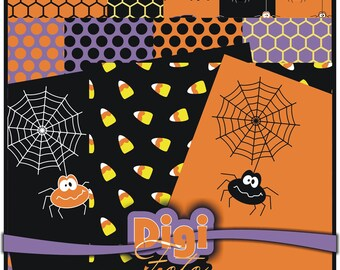Halloween Spider Web Candycorn polka dots Digital Paper 8.5x11 for Scrapbooking and Cards