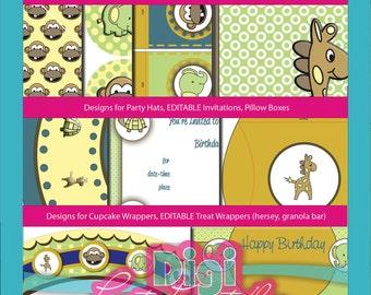 Printable Monkey Giraffe Birthday Party Kit Editable PDF Zoo Theme Elephant, Turtle