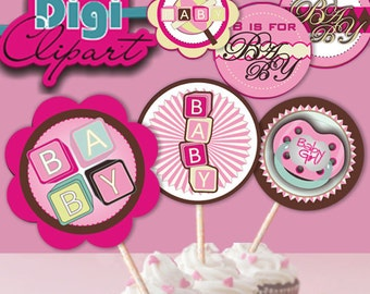 Baby Girl Baby Shower Favor Tags Cupcake Toppers or Stickers - Pink Green Yellow Brown