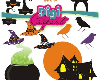 Clipart Couldron Witches Hat Crow Haunted Spooky House - Purple, Orange, Black INSTANT DOWNLOAD