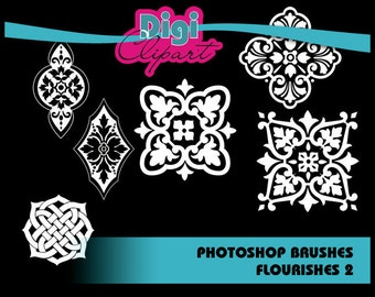 Flourish 2 Photoshop Brushes - Personal and Commercial Use - INSTANT DOWNLOAD