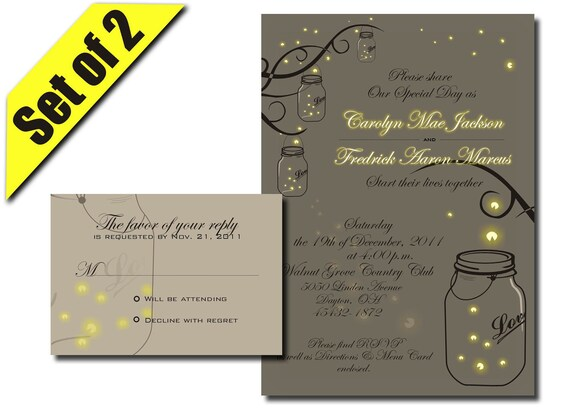 Mason Jar Wedding Invitation RSVP with Fireflies- Digital DIY Printable