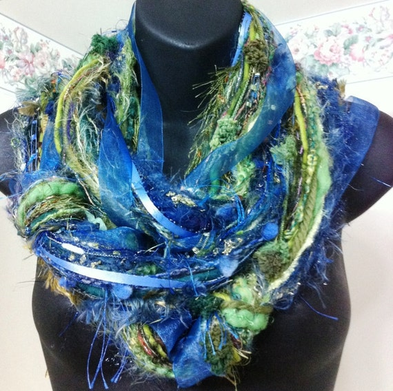 Glitzy Multi Color Blue Green Scarf - Custom Order for Shirley Kpatch12