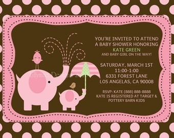 Elephant Baby Shower Invitation - Baby Girl Shower - Baby Boy Shower- Pink and brown Polka dot - Baby Sprinkle