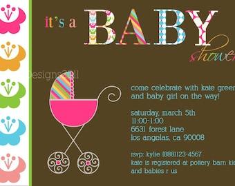 Baby Shower Invitation - Bright Patterns - Digital File