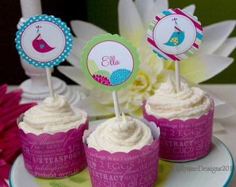Bird Cupcake Toppers or Favor Tags - Party Birds - Digital File