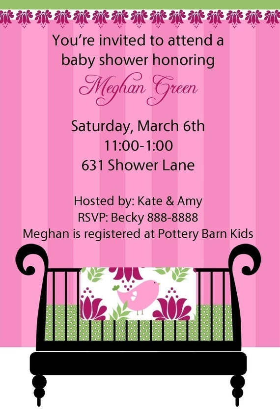 Baby Girl Crib Shower Invitation