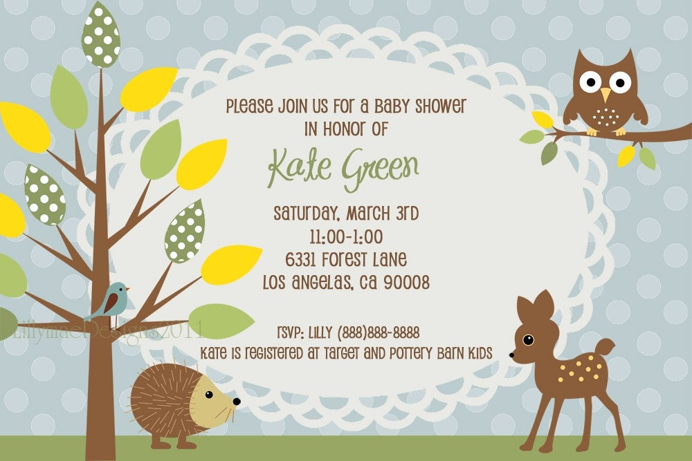 Woodland Baby Shower Invitation Forest Animals Baby Boy