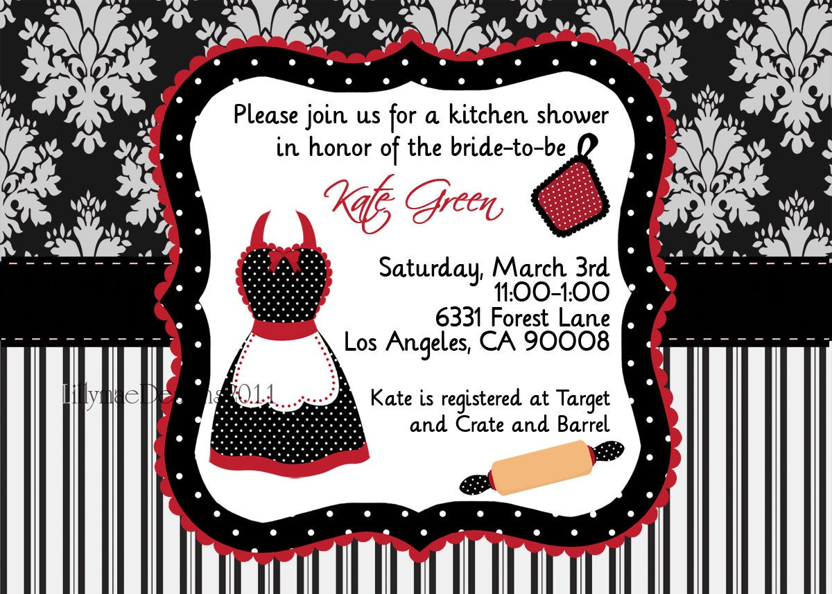 kitchen shower invitation pampered chef party apron