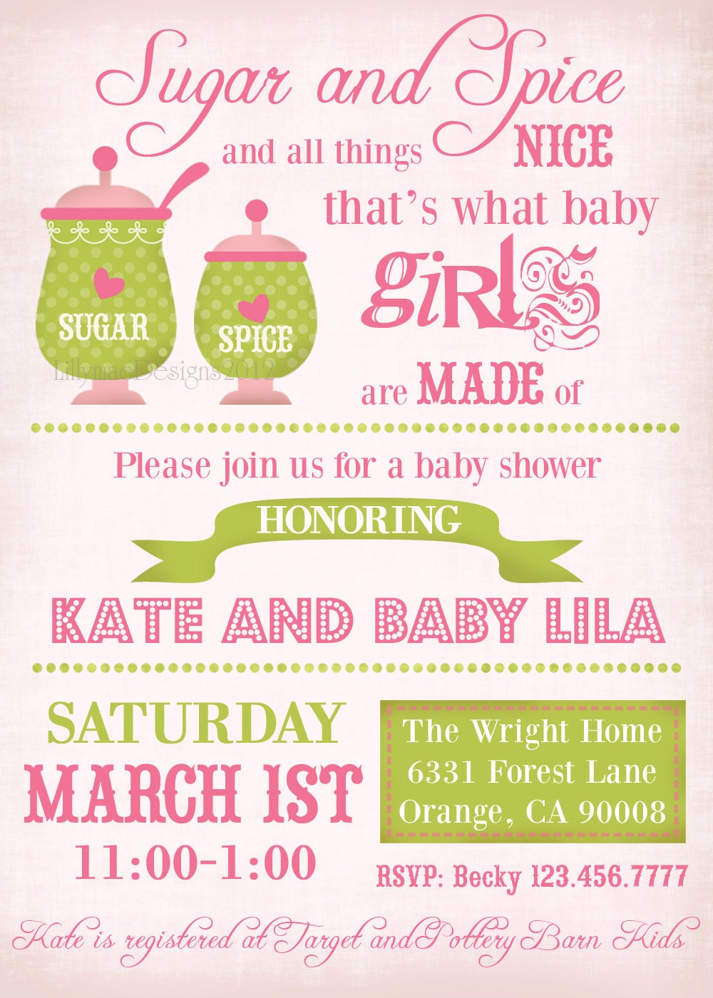 sugar and spice baby shower invitation baby girl shower