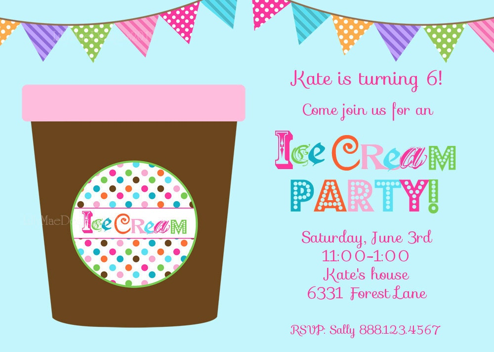 Ice Cream Party Invitation Ice Cream Tub Digital File – Ice Cream Party Invitation