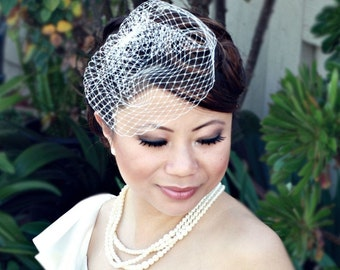 Petite 8 inch Birdcage Veil with Crystal Edge