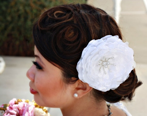 Sale-Large Poly Silk and Organza Peony Fascinator (SALE 20% OFF) Adrienne