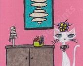 Mid Century Modern Cat - 8.5 x 11 print