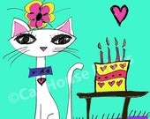 Birthday Cat Art Print 8.5 x 11