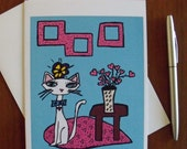 Love Cat Art Print 5 x 7 Greeting Card