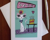 Birthday Cat Art Print 5 x 7 Greeting Card