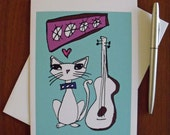 Blue Guitar Cat Art Print 5 x 7 Greeting Card