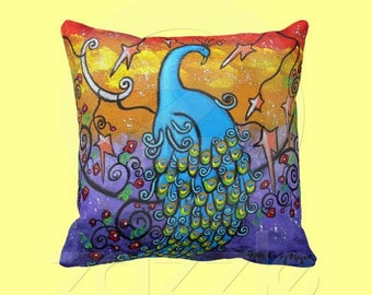 Enchantment Original Art Peacock Pillow, Design on both Sides