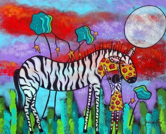 Original Art Fantasy Girl and Zebra Encouragement Greeting Card