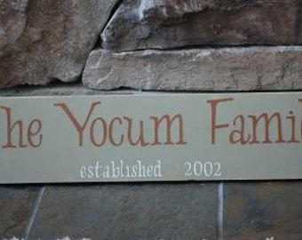 Family sign established date wedding gift birthday bridal shower name sign