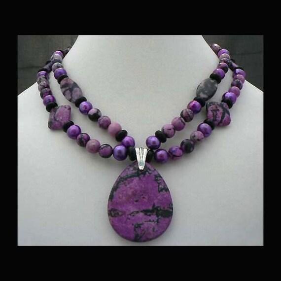 Sugilite Jasper, Purple Fresh Water Pearl and Black Onyx Necklace