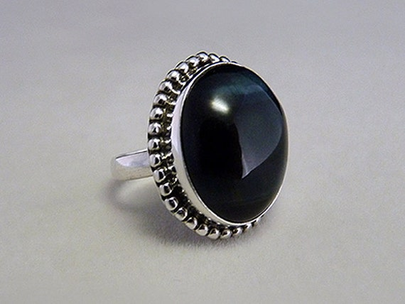 Sterling Silver and Midnight Blue Tiger Eye Ring Size 7
