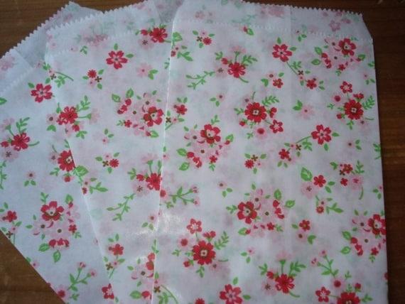 Cute Flower Paper Gift Bags - Set of 40