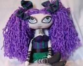 Malory, Sassy Goth Purple Green Cloth Art Rag Doll