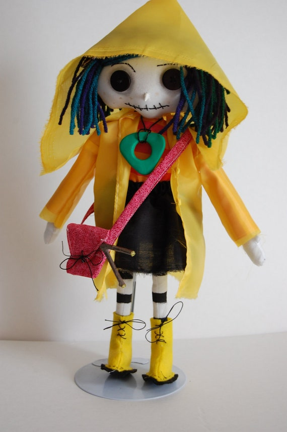 Little Me Coraline button Eye Doll with purse,seeing looking stone, dowsing rod
