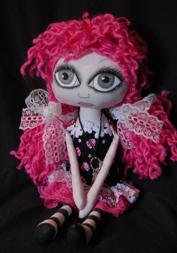 Nicole, Cloth Art Rag  Doll ooak big eye collectable unique