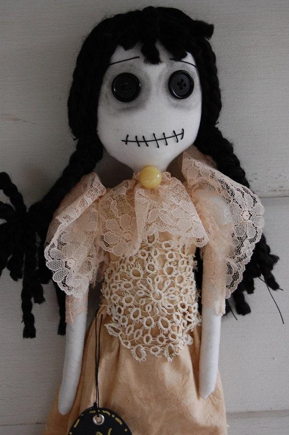 ON SALE Lupita, Goth Victorian Dia de Los Muertos Primitive Folk Art Doll  HALLOween SALE