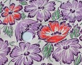 Vintage Red and Purple Flower Fabric