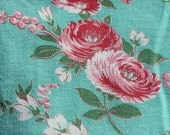 Bright Green Feedsack with Pink Flowers
